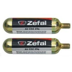 CARTUCHO CO2 ZEFAL 25 grs CON ROSCA 2 UNIDADES