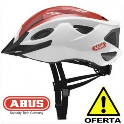 OFERTA Casco ABUS S-CENSION BLANCO ROJO Brillo