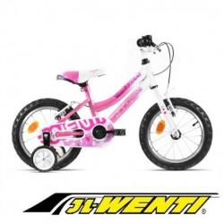 """Bicicleta Infantil 14"""" JL WENTI ROSA Blanco"""