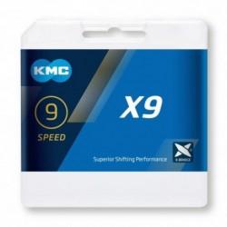 Cadena KMC X9 114 eslabones 9V cromada-gris