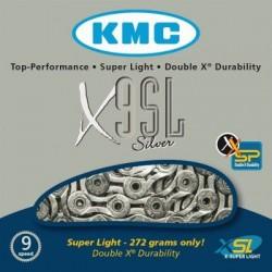 Cadena KMC X9SL 116 eslabones 9V plata