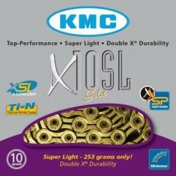 Cadena KMC X10SL 114 eslabones 10V oro