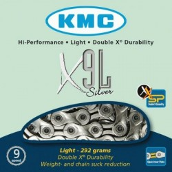 Cadena KMC X9L 116 eslabones 9V cromada