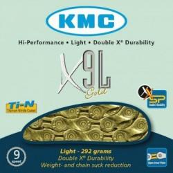 Cadena KMC X9L 116 eslabones 9V oro