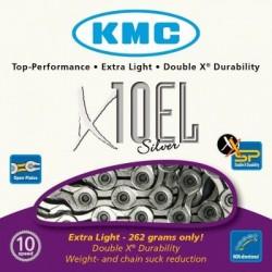 Cadena KMC X10EL 114 eslabones 10V plata