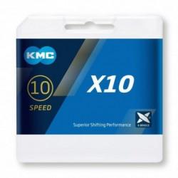 Cadena KMC X10 114 eslabones 10V cromada-negra