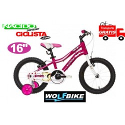 "Bicicleta Niño WOLFBIKE 16"" ROSA Transporte GRATIS"