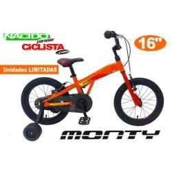 "Bicicleta Infantil MONTY 103 16"" Aluminio Naranja"
