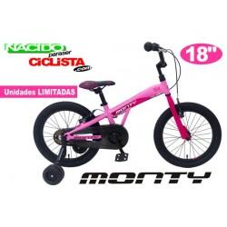 "Bicicleta Infantil MONTY 104 18"" Aluminio Rosa"