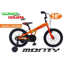 "Bicicleta Infantil MONTY 104 18"" Aluminio Naranja"