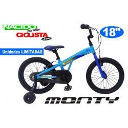 "Bicicleta Infantil MONTY 104 18"" Aluminio Azul"