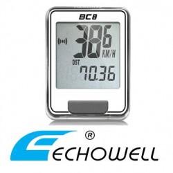 Cuentakilómetros Bicicleta ECHOWELL BC8 con cable BLANCO